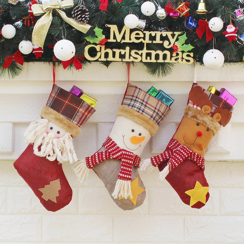 new year decor christmas decorations for home 2018 santa claus sock christmas tree decorations cheap christmas ornaments snow in stockings gift holders