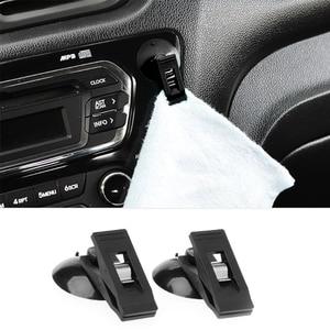 Image 2 - 2 ピース/ロット車の窓マウント吸引吸盤クリップフックホルダー太陽シェードカーテン布カードチケット黒 stuffqiang