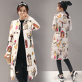 Abner NOVO 2017 Outono Mulheres Da Moda Para Baixo Casacos de Inverno Senhora Casaco Com Capuz com Impressão Dos Desenhos Animados Quente Jaquetas Casuais