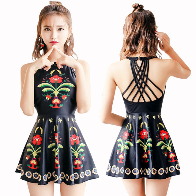 3a4bbe10eddd77 Good Quality High Neck Women Swimsuit Skirt Bathing Suits One Piece XXL  Vintage Swim Dress Black