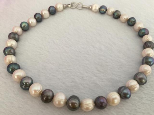 Precioso collar multicolor barroco tahitiano de 9-10mm 18 pulgadas 925 s