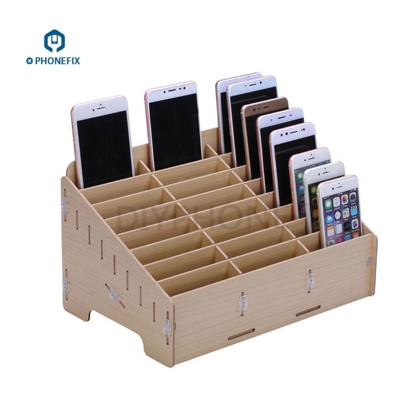 24 Grids Wooden Storage Box Cell Phone Holder Desktop Organizer Storage Box Mobile Phone Repair Tools Storage Box