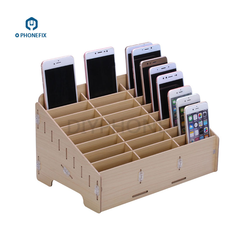 PHONEFIX Multi-functional 24 Grid Wooden Cell Phone Holder Desktop Organizer Storage Box Mobile Phone Repair Tools Storage Box