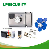 LPSECURITY battery powered /12VDC 13.56 IC RFID Reader electric Gate Door Lock Access Control System kit with 10tags or TM tag