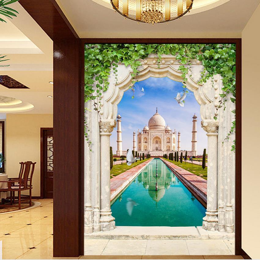 ᐂAccueil Décoration Taj Mahal pigeon Entrée Mural 3d papier peint ...