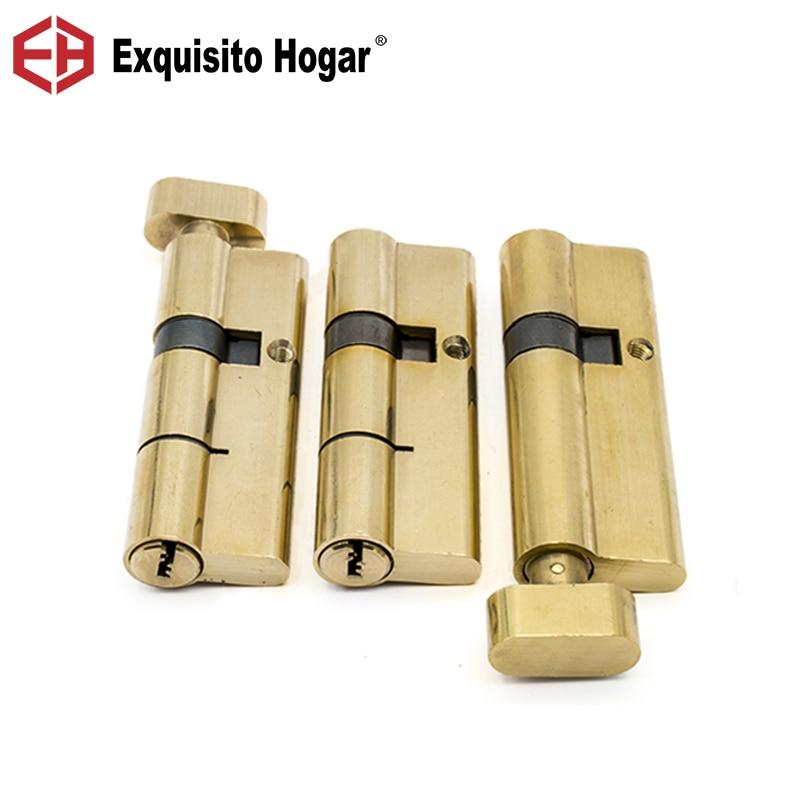Herraje de cilindro abierto doble dorado interior 70/75/80/85/90/95/100mm cilindro de la puerta de la cerradura latón 3 uds llave extendida