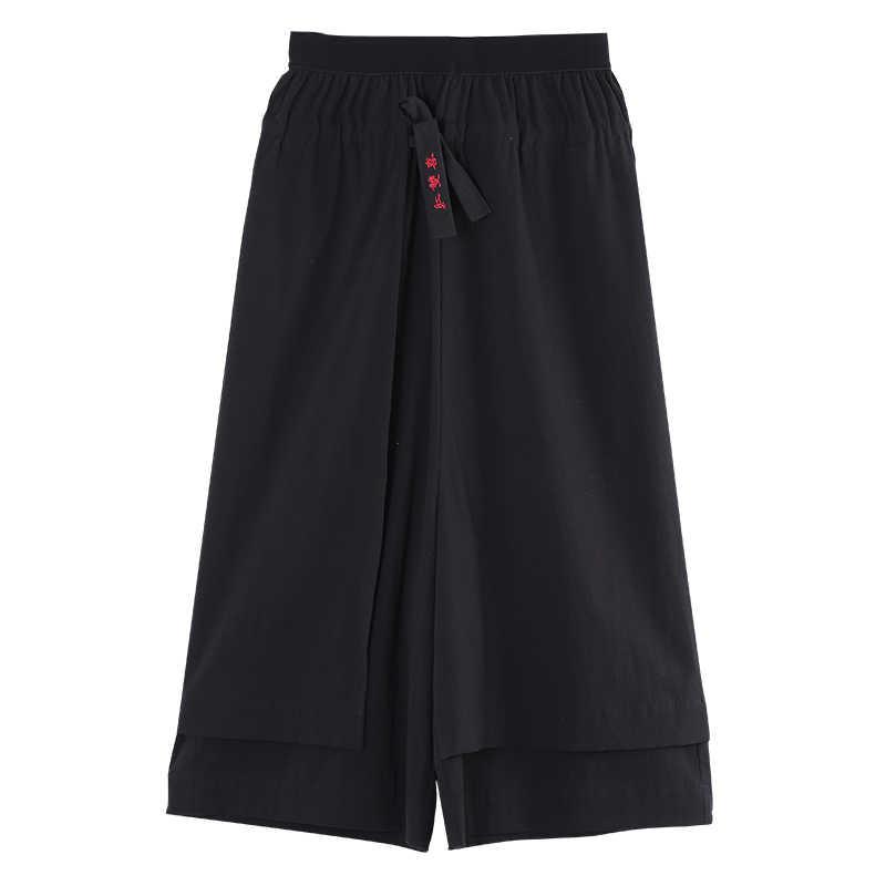 Toyouth 2018 летние Широкие штаны корейский стиль узкие укороченные штаны черный эластичный пояс прямые свободные повседневные Капри для женщин
