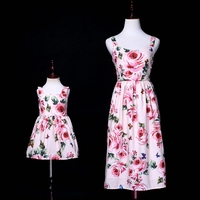 2019 Summer Floral Mother Daughter Dresses Sleeveless Wedding Clothes Ball Gown Mom and Baby Girl Dress Beach Family Clothing