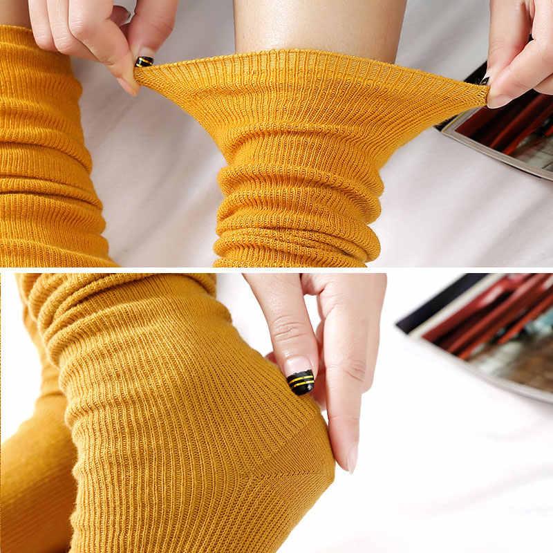 1 คู่ใหม่สวมใส่ฤดูใบไม้ร่วงฤดูหนาวน่ารักผ้าฝ้ายสีทึบสไตล์ยาว Soft Piles ถุงเท้า Edge Curl หุ้นสำหรับผู้หญิง