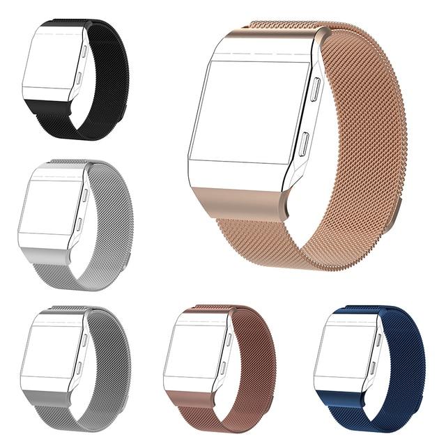 Para Fitbit iónico correa de Metal de acero inoxidable Milanese Loop Mesh correa de reloj de pulsera