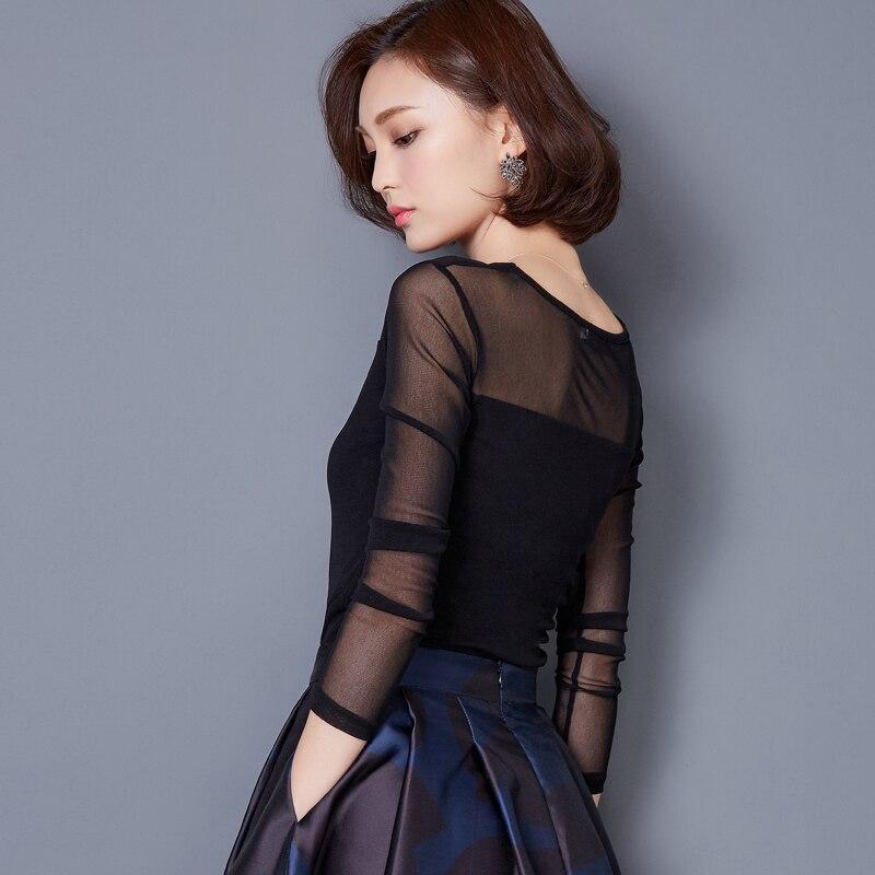 Blusas 2018 Payız Qış Krujesi Bluz Moda Crochet Krujeva Uzun Qollu - Qadın geyimi - Fotoqrafiya 2