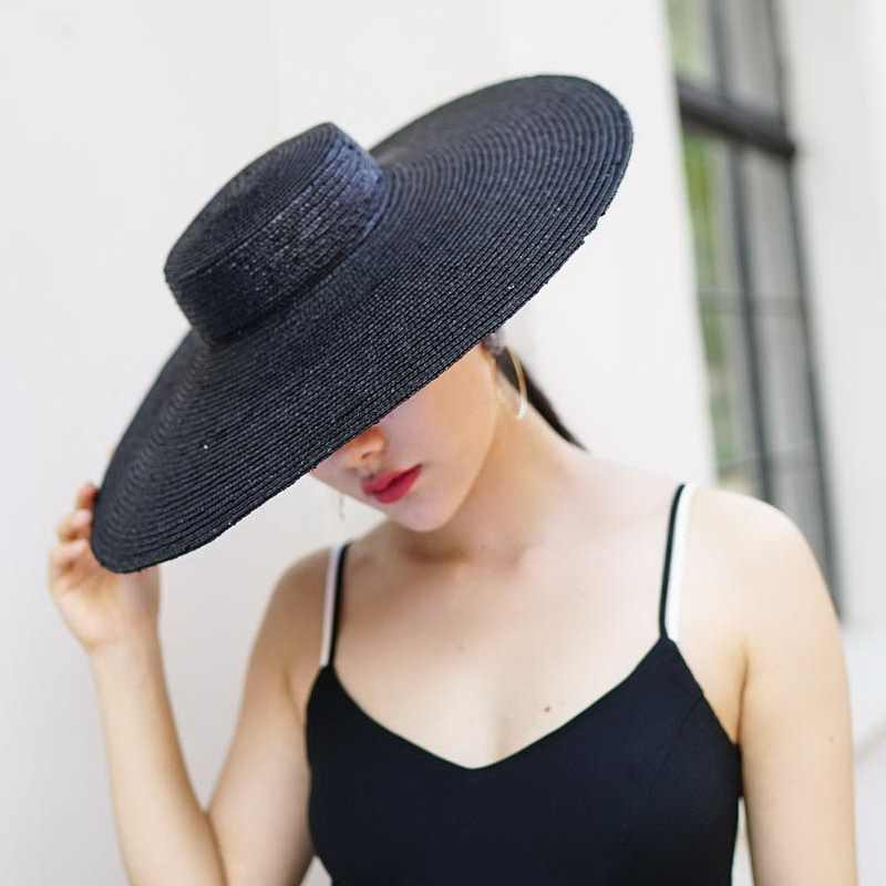 13db4d826675a Wide Brim Hat Sun Hats for Women 2018 New Fashion Black Straw Beach Hat for  Ladies