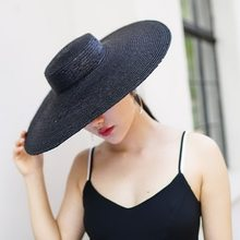 Sombrero sombreros de Sol para las mujeres 2018 nueva moda negro de paja  sombrero de playa para mujeres de calidad superior de s. c0723e238e9