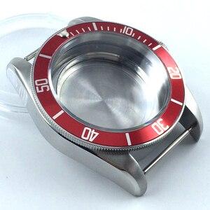 Image 4 - 41 millimetri rosso lunetta sapphire cystal Cassa Dellorologio quadrante mano fit ETA 2836 mingzhu 2813 miyota 82 serie MOVEMEN