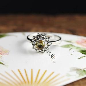 Image 5 - Véritable pur anneau 925 en argent Sterling Simple mode femmes anneaux naturel grenat pierre Fine bijoux Anillo Compromiso