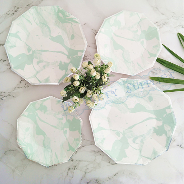 80pcs Marble Mint Pastel Foil Silver Paper Plates Large 9inch Small 7inch for Birthday Party Engagement