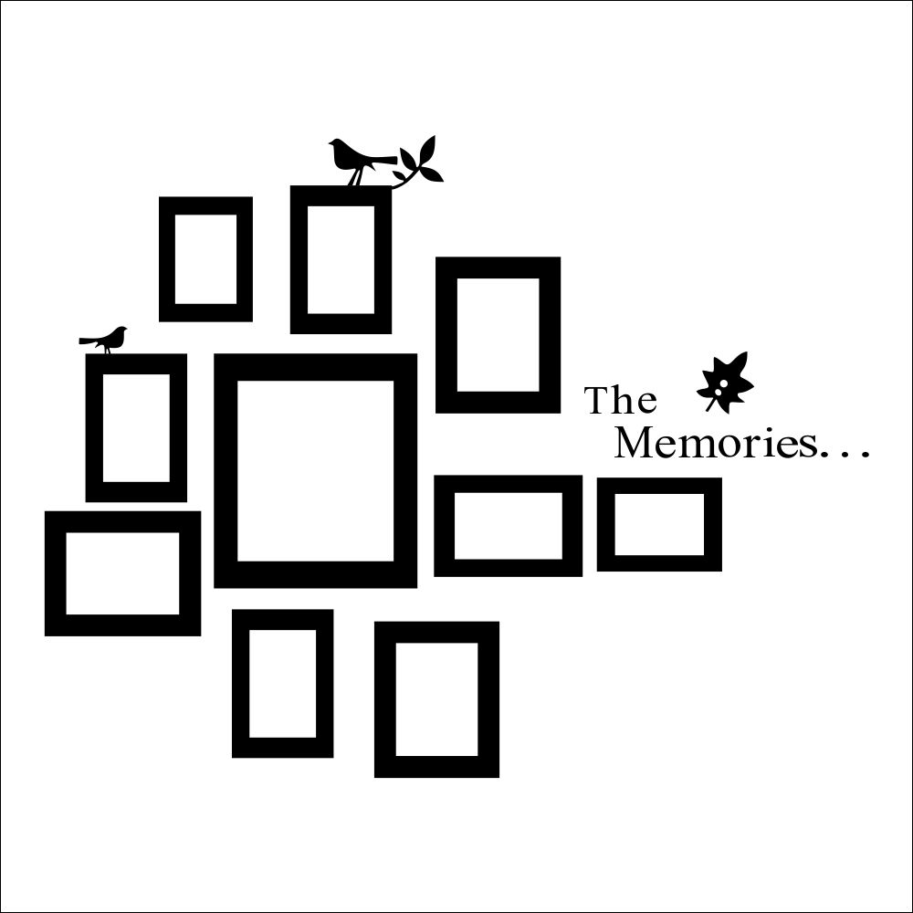 10 Pictures Photo Frame Set Wall Mural Black Wedding Art Frames ...