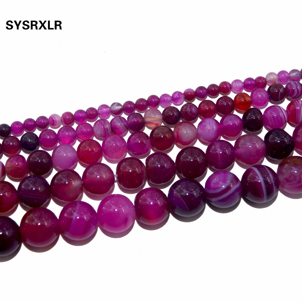 Wholesale Rose Red Banded Agat High Quality Natural Stone Round Beads For Jewelry Making DIY Necklaces Bracelets 4 6 8 10 12 MM in Beads from Jewelry Accessories
