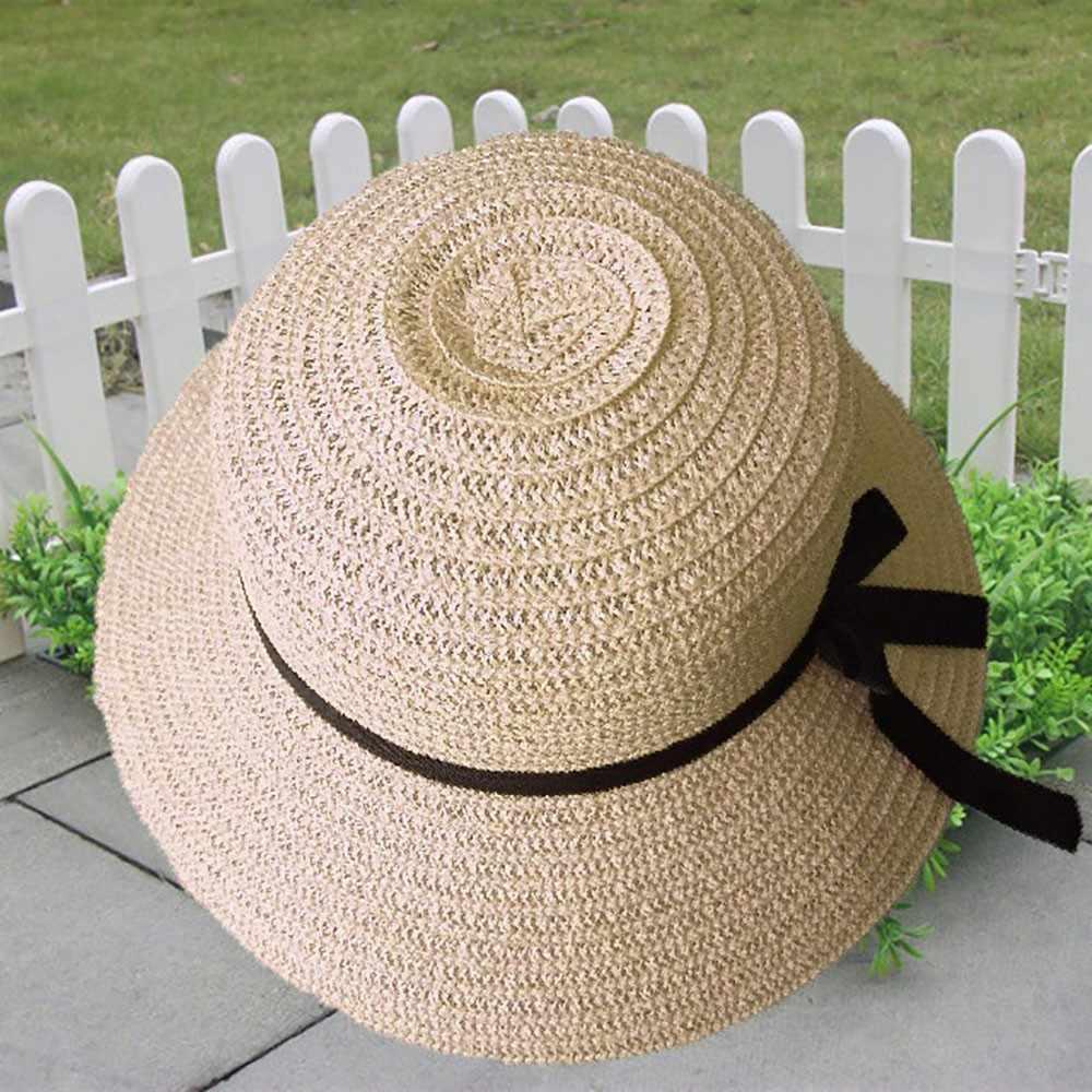 フロッピー折りたたみ女性わらビーチ太陽の夏の帽子ベージュワイドつば通気性キャップ屋外ビーチ Sunhat ドロップ無料 # BL5