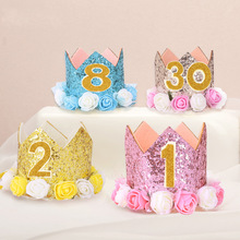 New Baby boy girl party cartoon hats First Birthday Party Hat Gold princess prince Crown One Two Three Year Old Self-sticking