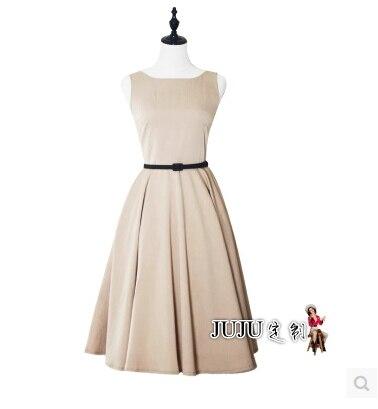 Élégante Et Européenne Noir 60 Retro Vieille Robe Manches American 50 Simple Audrey Hepburn Femme S OCou Solides Khaik TOZuXwikP