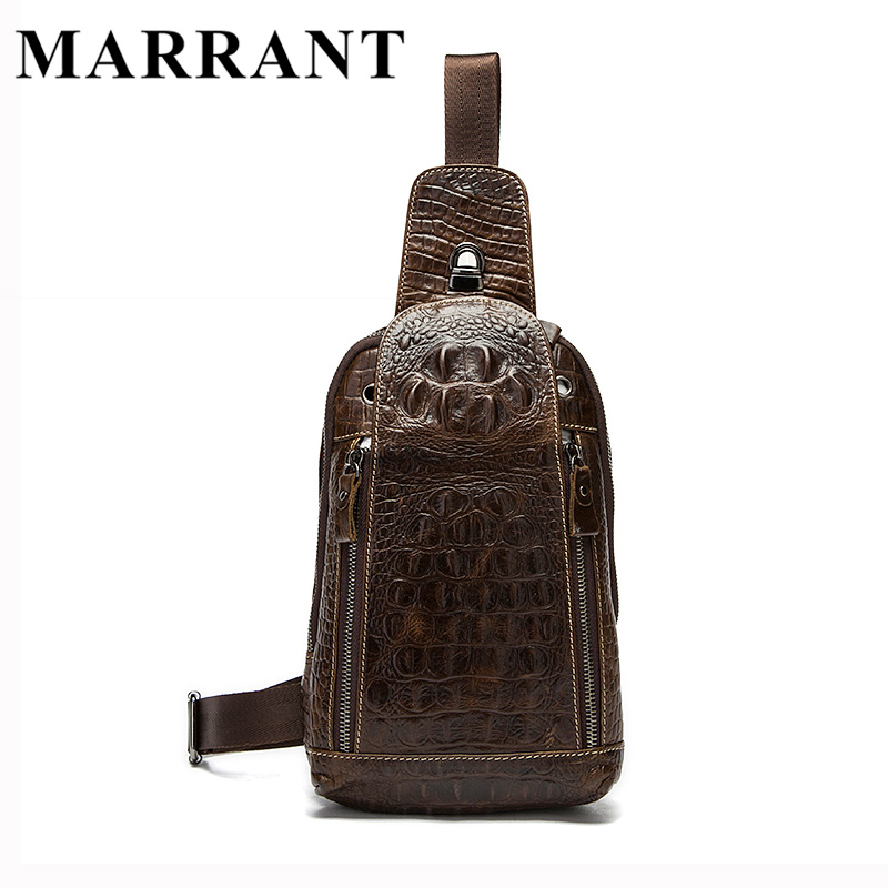 ФОТО MARRANT Genuine Leather Men Bags Hot Sale Men Crossbody Handbag Alligator Pattern Messenger Bag Male Fashion Shoulder Pack 1311