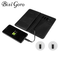 BISI GORO 2019 Unisex Smart Wallet Phone USB for Charging Wallet Passport Package Adapt For Ipone And Android Capacity 10000 mAh