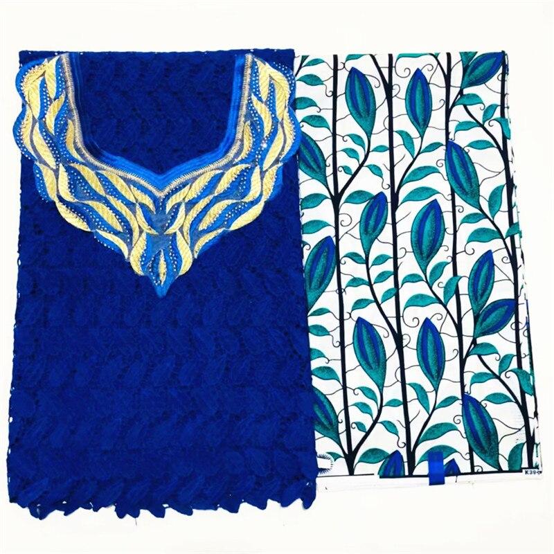 La plus nouvelle dentelle africaine brodée bleue de cordon + tissu d'ankara de coton imprime le tissu + belle dentelle de poitrine pour la robe de mariée