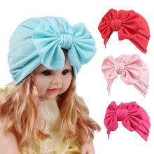 2019 Brand New Newborn Toddler Kids Baby Boy Girl Turban Cotton Bowknot Candy Color Solid Warm Beanie Hat Hospital Winter Cap(China)