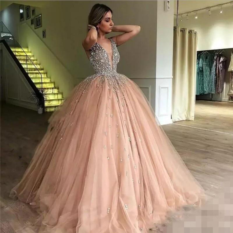 2019 magnifiques cristaux robes De soirée une ligne robes De bal Sexy col en V pailleté Long Tulle Pageant Robe De soirée Robe De Mariee