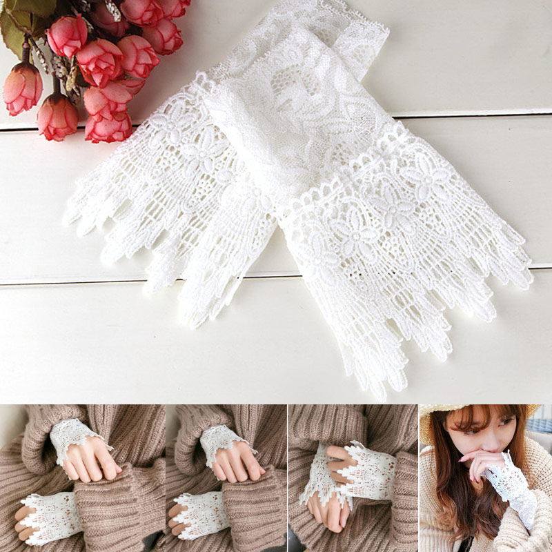 1 Pair Lace Wrist Sleeves Hollow Fake Cuff Elegant Gloves Accessories For Women Lady FDC99