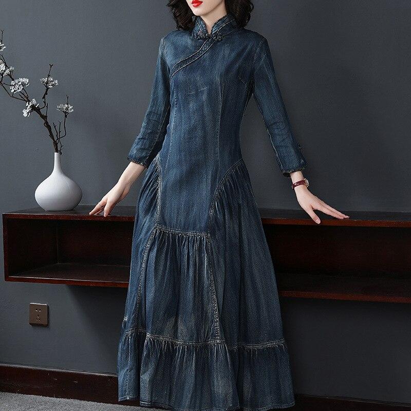 Coton Bonne Marque 100 Robe Ruches Mode Automne Femme Wq446 Picture Couture Robes Denim Rétro De Plus Qualité 2018 Mince nXBq7R4
