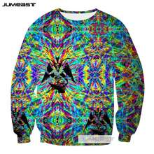 Jumeast New Arrival Psychedelic Abstract 3d Printed Fashion Colorful Totems Women/Men Long Sleeved Outerwear Sweatshirts Tops