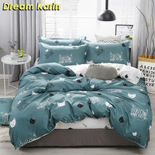 Cartoon Bedding Sets Cute Cat Pattern Quilt Cover 2/3 Pcs Bed Linens Duvet Covers with Pillow Case Single Double Queen King Size(China)