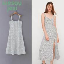 Women Dress Summer casual style dot Camisole square-neck dress Loose mid-calfBohemian Vintage Dress vestidos simple style sleevelessu neck loose fitting black dress for women