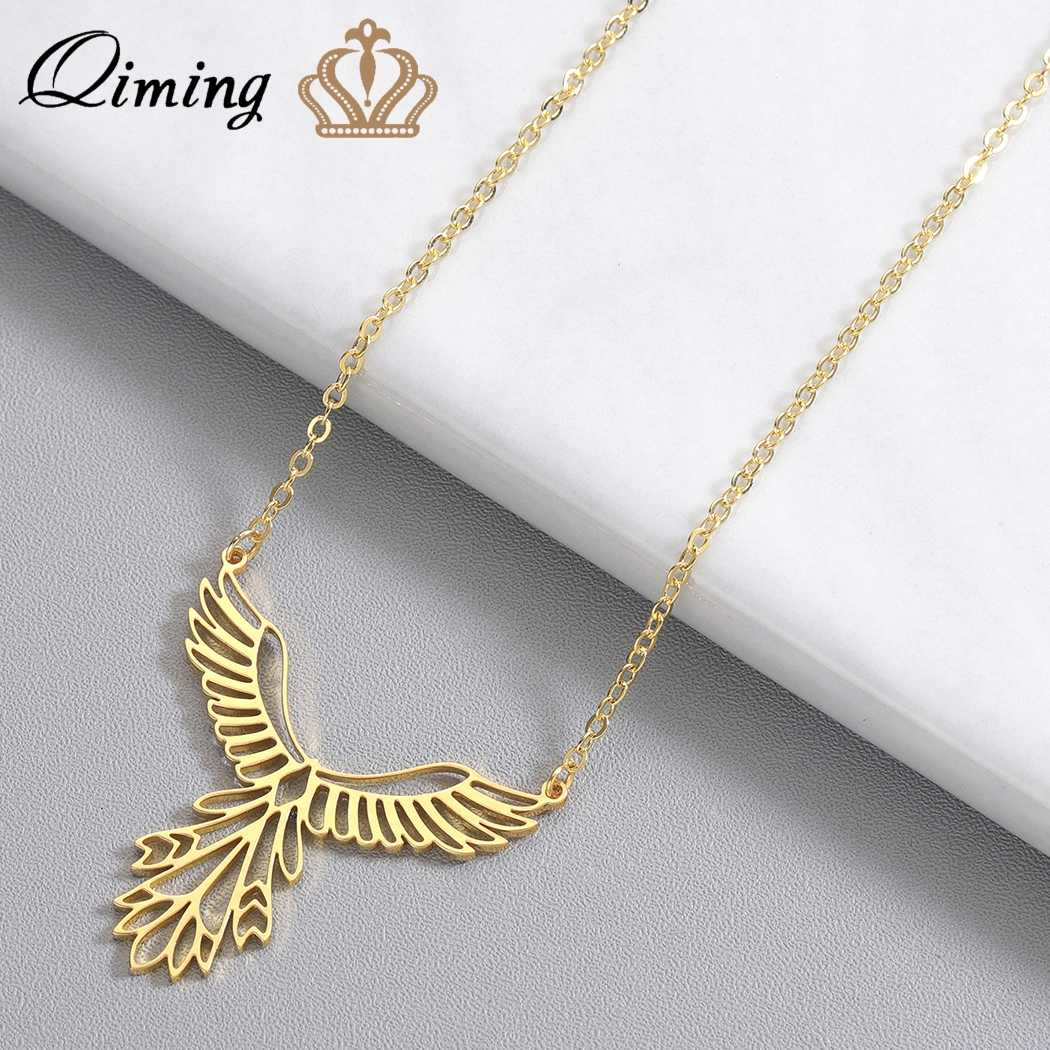 QIMING Delicate Bird Phoenix Necklace Female Women Stainless Steel Jewelry Origami Phenix Pendant Friendship Necklaces Gift