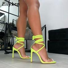 Eilyken 2020 New Fashion Fluorescent Sandals Ankle Strap Cross Strap Woman PVC Sandals 12.5CM High Heels Party Sandals size 43