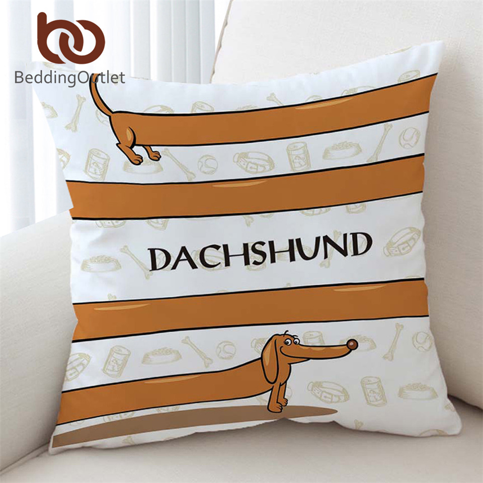 Ingenious Beddingoutlet Dachshund Cushion Cover Cartoon Pet Dog Pillowcase On Sofa Bed Throw Cover Brown Striped Decorative Pillow Cover Be Shrewd In Money Matters Home & Garden