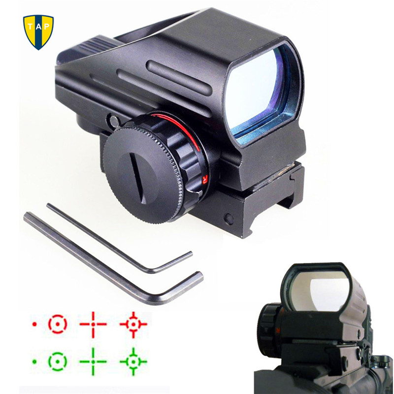 Chasse Optique 1x22x33 Compact Reflex Red Green Dot Sight Portée 4 Réticule Sight pour Airsoft Avec Weaver 20mm Mont Caza
