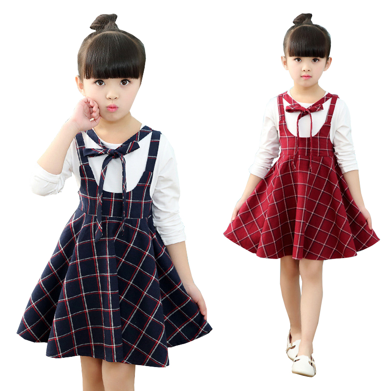2017 Autumn Girls Dress With Long Sleeves Blue Red Plaid Kids School Uniform Clothes For Teenager  5 6 7 8 9 10 11 12 Years girl dress autumn white long sleeved clothes korean cotton size 4 5 6 7 8 9 10 11 12 13 14 years kids blue lace princess dress