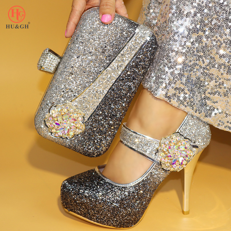 Shining Colorful Italian Shoes with Matching Bag Women Italian African Party Wedding Shoe and Bag Set Decorated with Rhinestone shining rhinestone peacock colorful femininity earrings golden pair