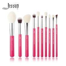 Jessup 10pcs Rose-carmin/Prata Maquiagem Profissional Brushes Set Make up Brush Beleza Fundação Pó Definer Shader Liner
