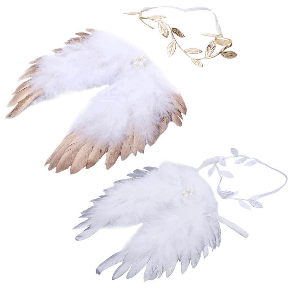 5e6473833 Detail Feedback Questions about Angel Photo Pro Feather Wings Baby Leaves  Headband Hair Head Bands Photo Accessories Golden and Silver Angel Wings  with Halo ...