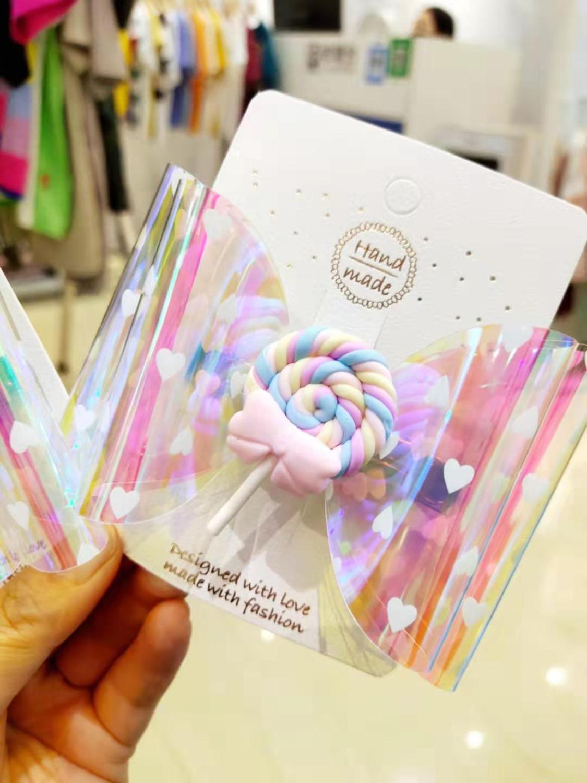 4 Inch Thumbelina Lollipop Bows Hairgrip Glitter Hair Bows With Clip Dance Party Bow Hair Clip Girls Hairpins Hair Accessories