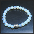 2 pcs white opal beads fashion bracelets charms bracelets size 8mm two types of designs for your choice
