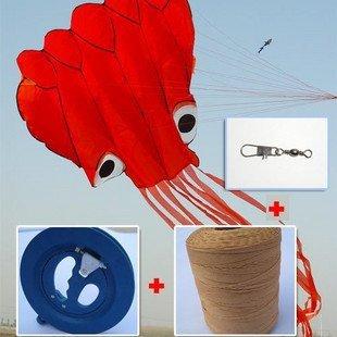 Envío de la alta calidad suave pulpo kite 22 cm rueda azul + 400 m line + conector gran paquete puede volar fácil control