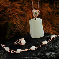 925 silver Natural White HeTian Gem Stone Lucky Pendants Necklace Bracelet Ring Set + certificate Fashion Fine Jewelry