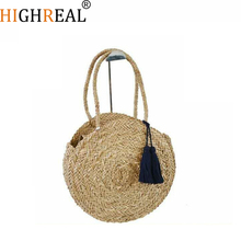 HIGHREAL Round Straw Bags Women Summer Rattan Bag Handmade Woven Beach Cross Body Bag Circle Bohemia Handbag