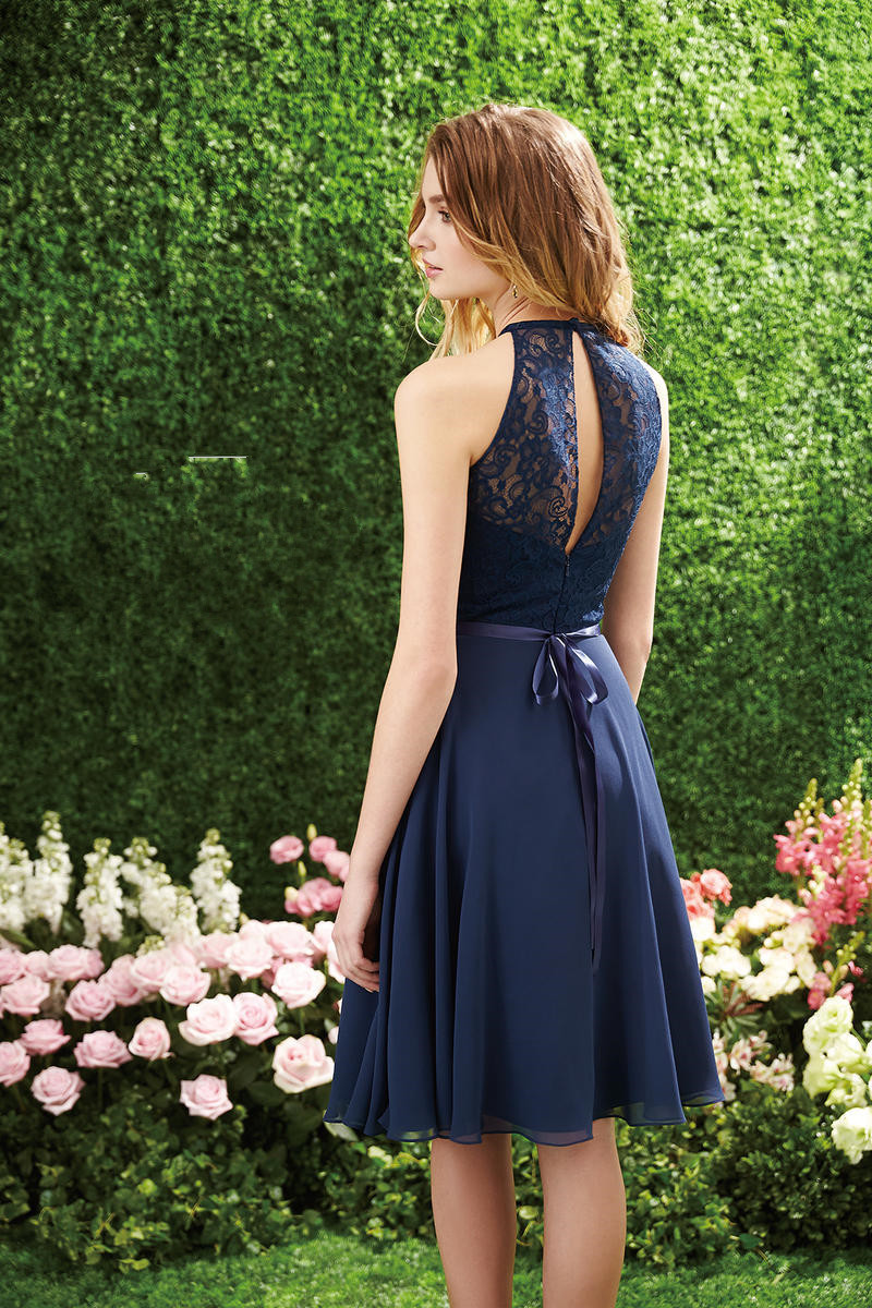 High Neck Knee Length Chiffon And Lace Bridesmaid Dress