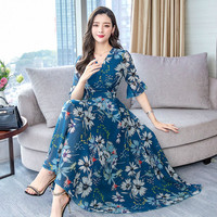 Spring Chiffon Fashion Printed Women Beach Dress 2019 New Summer Short Sleeve Female Work Wear Slim Elegant Temperament Dresses